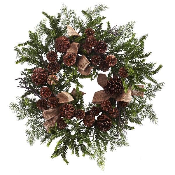 24-inch Pine & Pine Cone Wreath w/Burlap Bows
