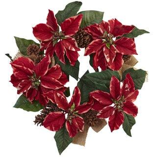 22-inch Poinsettia, Pine Cone & Burlap Wreath