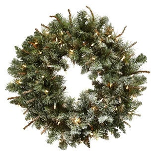 30-inch Lighted Frosted Pine Wreath