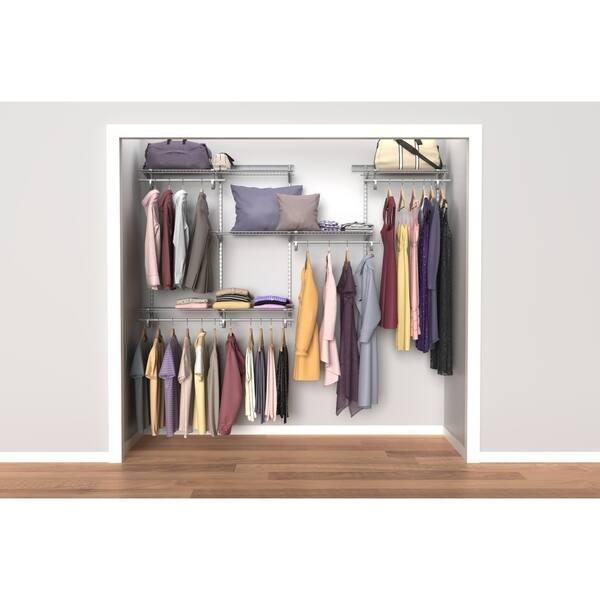 Shop Black Friday Deals On Closetmaid Shelftrack 5ft To 8ft Closet Organizer Kit Satin Chrome Overstock 10589894