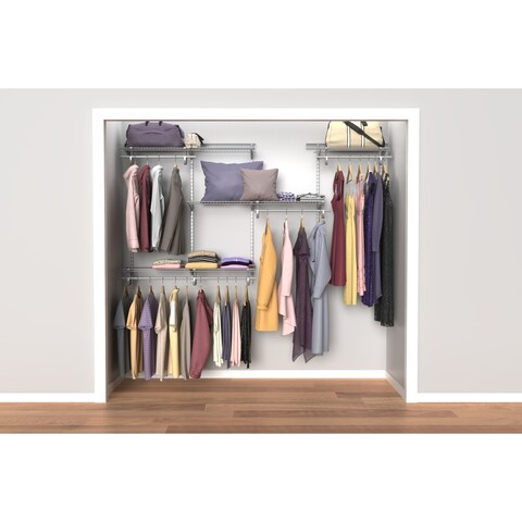 ClosetMaid ShelfTrack 5ft to 8ft Closet Organizer Kit, Satin Chrome