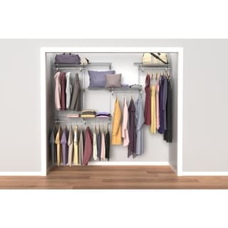 ClosetMaid ShelfTrack 5ft to 8ft Closet Organizer Kit, Satin Chrome