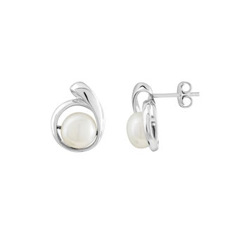 Kabella Sterling Silver Button Freshwater Pearl Earrings (8-8.5 mm)