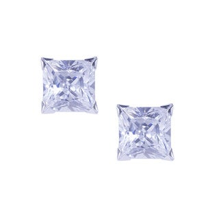 14k White Gold Cubic Zirconia Square Stud Earrings