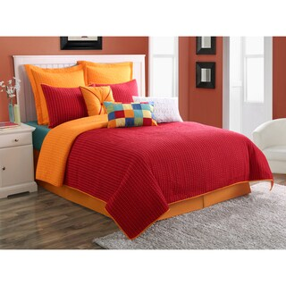 Dash Scarlet/Tangerine Solid Color Reversible 3-piece Quilt Set by Fiesta