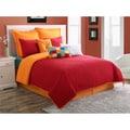Dash Scarlet/Tangerine Solid Color Reversible 3-piece Quilt Set by Fiesta