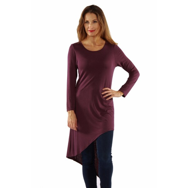 24 7 comfort apparel women 39 s extra long diagonal sweep tunic free shipping on orders over 45 for Extra long dress shirts
