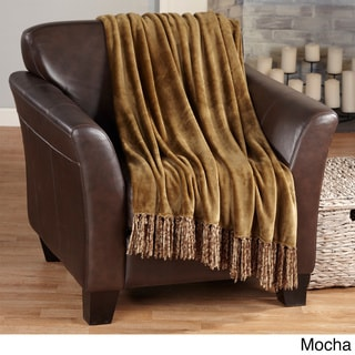 Danya Collection Ultra-Soft Solid Color Fringe Microplush Throw