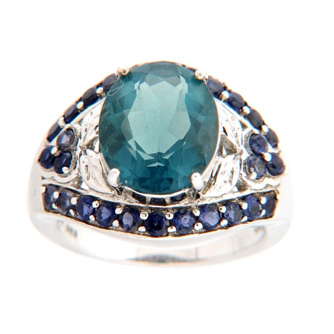 Sterling Silver Teal Fluorite and Iolite Ring