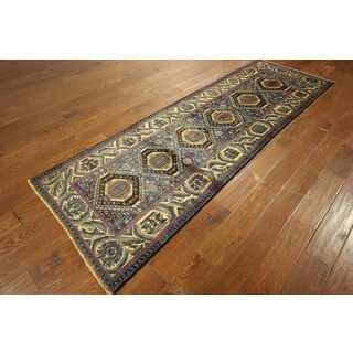 Oriental Area Baluch Runner Hand-knotted Wool Tufts Blue Rug (3' x 9')