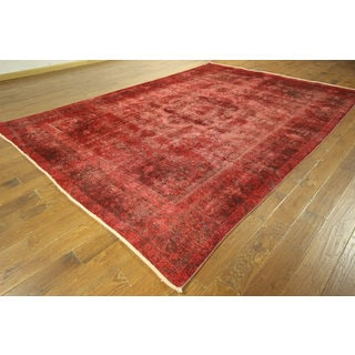 Oriental Floral Scarlet Red Overdyed Hand-knotted Wool Area Rug (8' x 12')