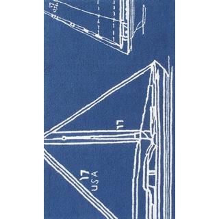 Handmade Polypropelene Sail Away Blue Rug (5' x 8')
