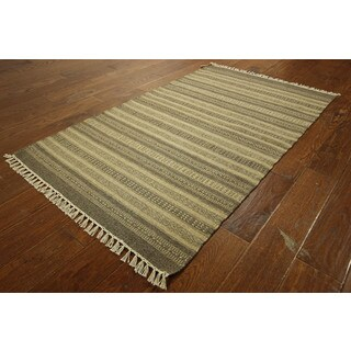 Flat Weave Brown Vegetable Dyed Wool Kilim Hand-knotted Stripe Rug (3' x 5')