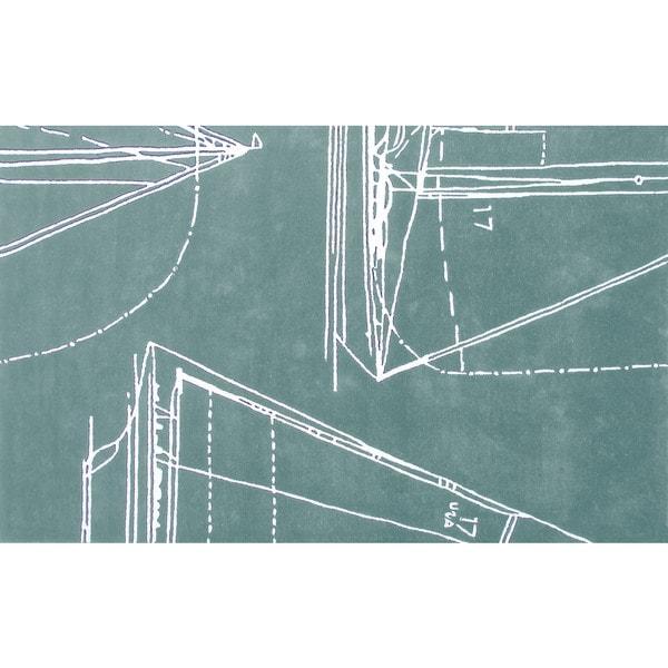 Handmade Polypropelene Sail Away Aqua Rug (5' x 8')