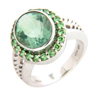 Sterling Silver Green Fluroite and Tsavorite Ring