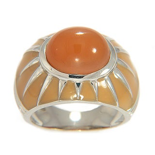 Sterling Silver Peach Moonstone and Enamel Ring