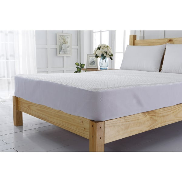 Cooling Jacquard White Mattress Protector