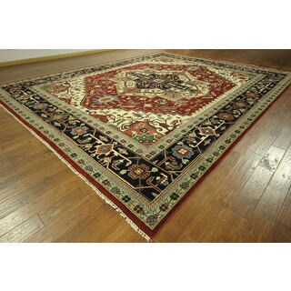 Oriental Red and Navy Blue Heriz Serapi Hand-knotted Wool Area Rug (11' 10 x 15')