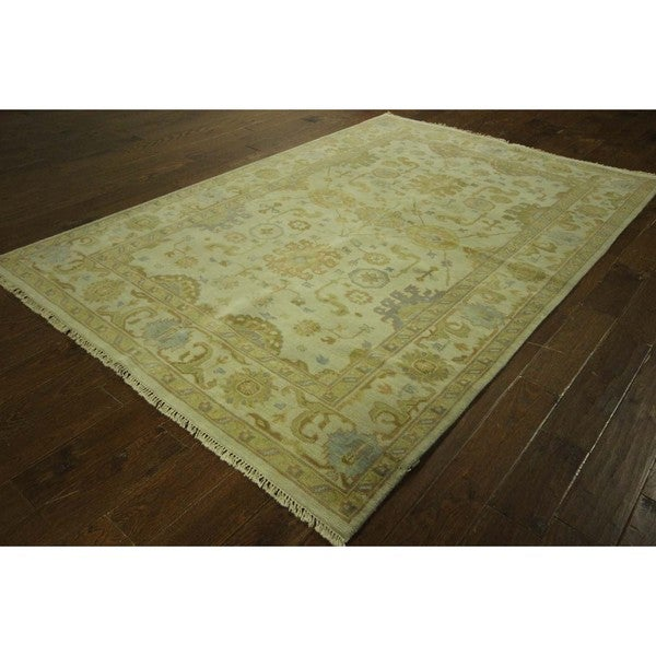 Shop Oushak Floral Tufted Wool Persian Oriental Area Rug: Persian Collection Ivory Oushak Floral Hand-knotted Wool