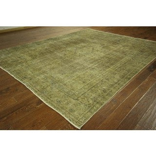 Oriental Floral Olive Green Overdyed Hand-knotted Wool Area Rug (9' x 12', 9' x 10')