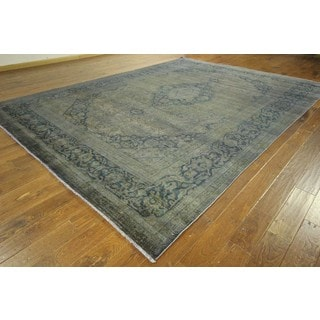 Unique Floral Mud Green and Blue Overdyed Hand-knotted Wool Area Rug (10' x 13')