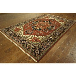 Serapi Collection Oriental Red/ Navy Blue Hand-knotted Wool Area Rug (6' x 9')