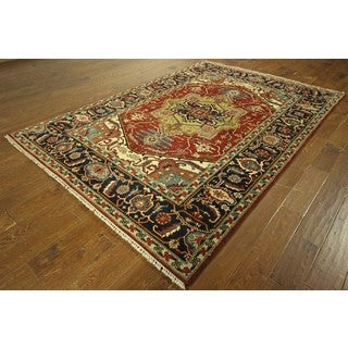 Heriz Red/ Navy Blue Serapi Hand-knotted Oriental Wool Area Rug (6' x 9')