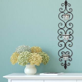 Adeco Iron Vine and Fleur De Lis Decorative Tealight Pillar Holder
