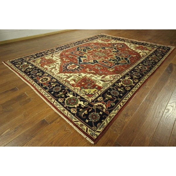 Hand Tufted Traditional Oriental Red Wool Rug With Non: Shop Traditional Oriental Red Heriz Serapi Hand-knotted