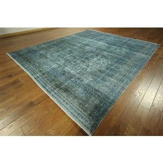 One of a Kind Antique Blue Overdyed Hand-knotted Wool Area Rug (10' x 12')