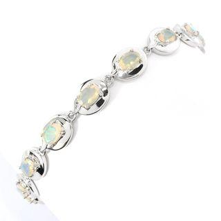 Sterling Silver Oval-cut Ethiopian Opal Bracelet