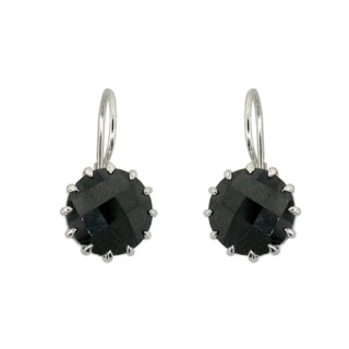 Sterling Silver Black Spinel Round Earrings
