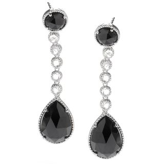 Sterling Silver 22 1/2ct Black Spinel and White Topaz Dangle Earrings
