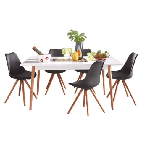 Brighton Faux Leather Oak Wood Dining Chair (Pack of 2)