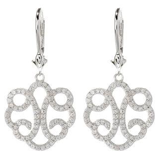 Dallas Prince Sterling Silver 1 4/5ct White Zircon Drop Earrings