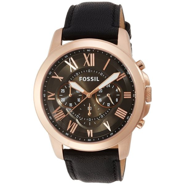 Shop Fossil Men s FS5085  Grant  Chronograph Black Leather Watch ... 4a5e59af545