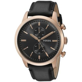 Fossil Men's 'Townsman' Chronograph Black Leather Watch