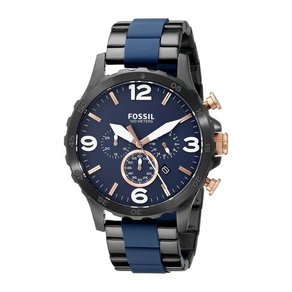 1befd572287 Shop Fossil Men s JR1494  Nate  Chronograph Two-Tone Stainless Steel ...