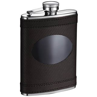 Visol Kearney Brown Leatherette Liquor Flask with Black Engraving Plate - 6 ounces