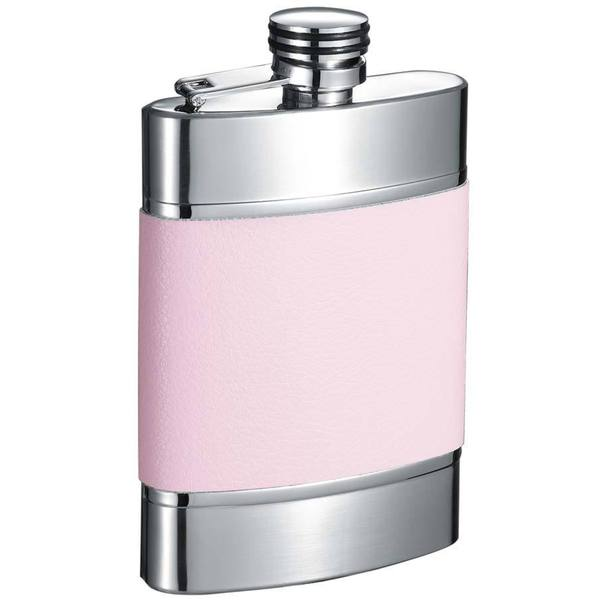 Visol Wickeln Pink and Brushed Metal Liquor Flask - 6 ounces