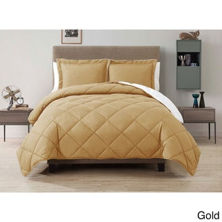 VCNY Solid Reversible Down Alternative 3-piece Comforter Set (Option: Gold - Twin)