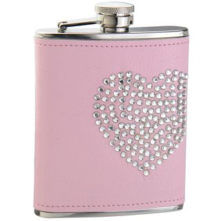 Visol Dazzled Heart Rhinestone Pink Liquor Flask - 6 ounces