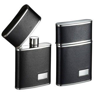Visol Flip Top Black Leather Stainless Steel Liquor Flask - 2.5 ounces