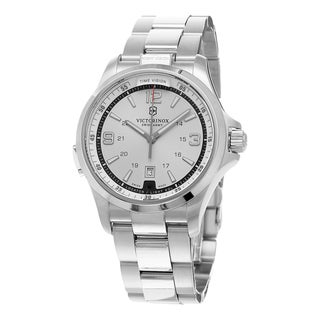 Swiss Army Men's 241571 'Night Vision' Silver Dial Stainless Steel Bracelet Swiss Quartz Watch