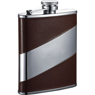 Visol Descent Brown Leather & Stainless Steel Liquor Flask - 6 ounces