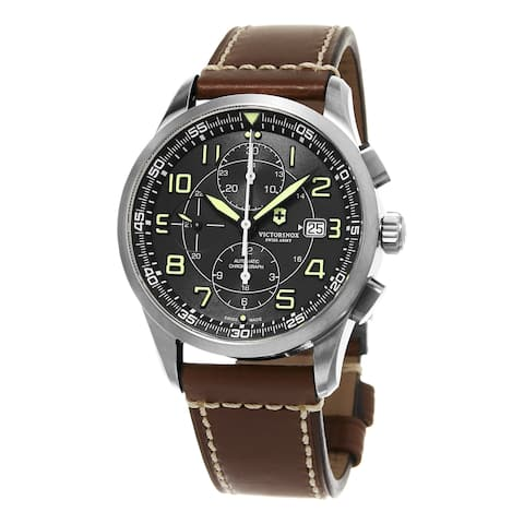 Swiss Army Men's 'Air Boss' Black Dial Brown Leather Strap Chronograph Swiss Automatic Watch