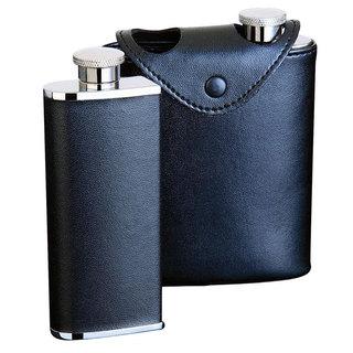 Visol Dos Black Leather Two Slim Liquor Flask - each 3 ounces