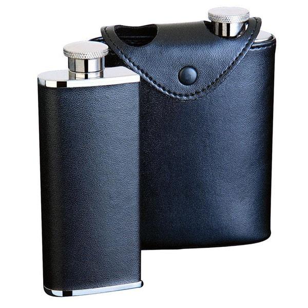 Visol Dos Black Leather Two Slim Liquor Flask - each 3 ounces. Opens flyout.