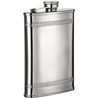 Visol Athens Greek Pattern Stainless Steel Liquor Flask - 8 ounces