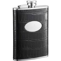 Visol Fantastique Black Crocodile Pattern Liquor Flask - 8 ounces